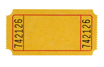 Blank yellow ticket isolated on white (with path).