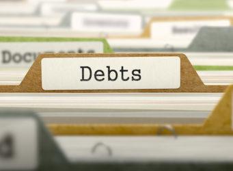 Debts - Folder Register Name in Directory. Colored, Blurred Image. Closeup View. 3D Render.